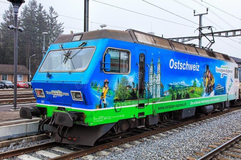 Voralpen-Express locomotive. Arth-Goldau, Switzerland - 22 December, 2016: a Voralpen-Express locomotive at a platform of the Arth-Goldau railway station on an royalty free stock photography