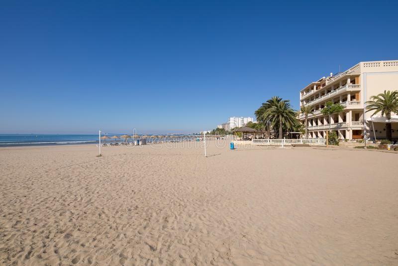 Voramar海滩在从沙子的Benicassim 库存照片