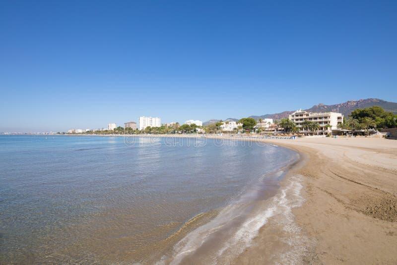 Voramar海滩在从seashor的Benicassim 图库摄影