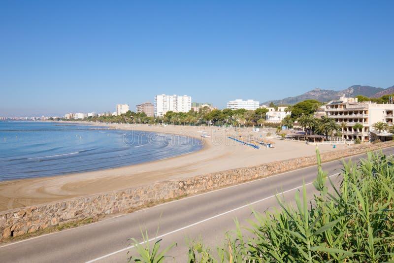 Voramar海滩在Benicassim 免版税库存照片