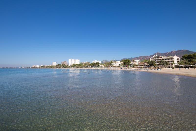 Voramar海滩在从wate的Benicassim 免版税库存照片
