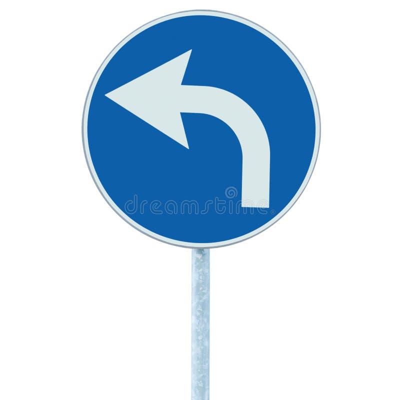 Voran biegen Verkehrsschild, blaue Runde lokalisierter Straßenrandverkehr Signage, weiße Pfeilikone und Rahmen roadsign, grauer P stockbild