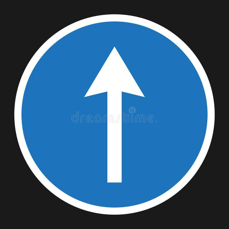 Voran flache Ikone des nur und des Antriebs geraden Zeichens lizenzfreie abbildung