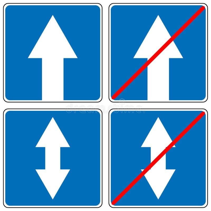 Voran nur, ein WeisenVerkehrszeichen, fahren gerader Pfeil-Verkehrs-Vektorillustrationen vektor abbildung
