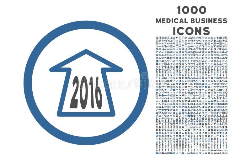2016 voran Pfeil gerundete Ikone mit Prämien-Ikonen 1000 vektor abbildung