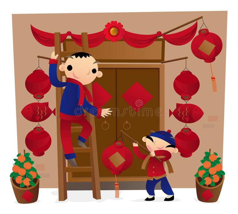 Vorbereiten der Haustürdekoration für das Kommen des Chinesischen Neujahrsfests stock abbildung