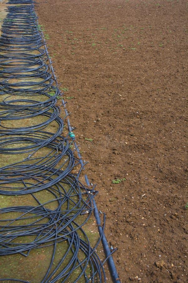 Vorbereitet für das Pflanzen im Vorfrühling Hahn mit rotem Griff für Berieselung stockbild