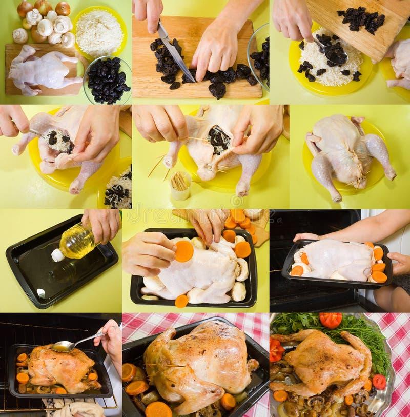 Vorbereitung angefülltes gebratenes Huhn stockfoto