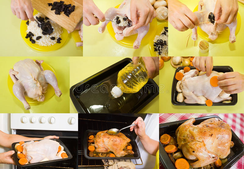 Vorbereitung angefülltes Huhn lizenzfreie stockfotografie