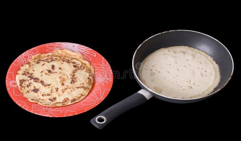 Vorbereitung der Pfannkuchen stockfotos