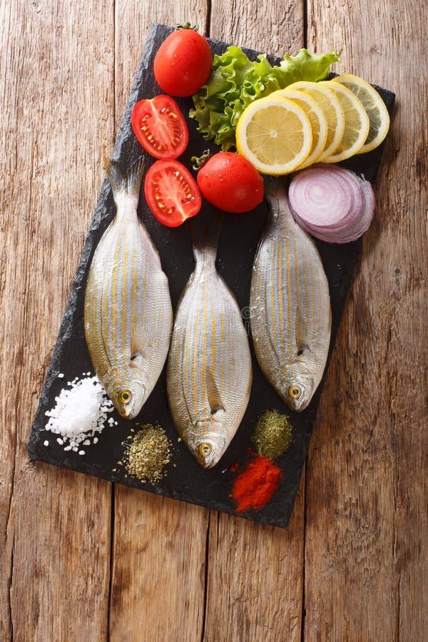 Vorbereitung für das Kochen von Sarpa-Salpafischen mit Zitrone, Gemüse und Gewürznahaufnahme auf einem Schieferbrett Vertikale Dr lizenzfreies stockbild
