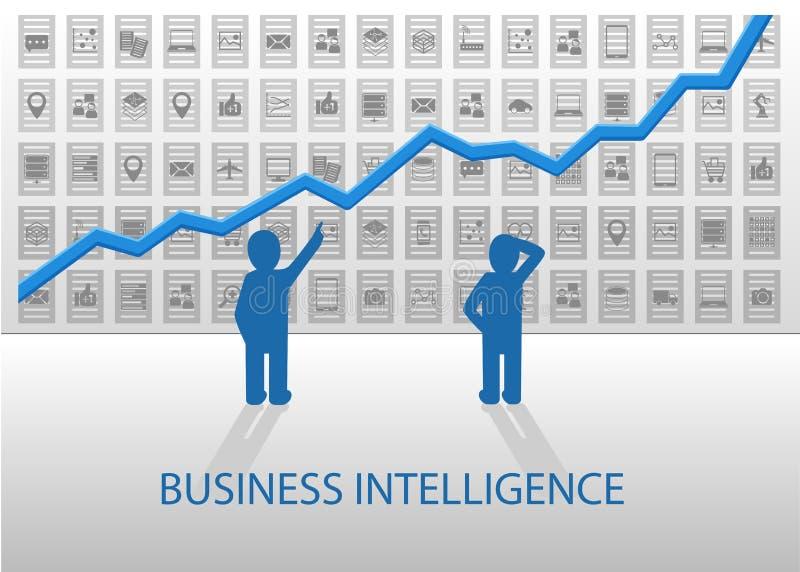 Vorbestimmte Analytikillustration Geschäftsleute, die positives Diagramm mit verschiedenen Geräten und Datenelementen in der Rück vektor abbildung