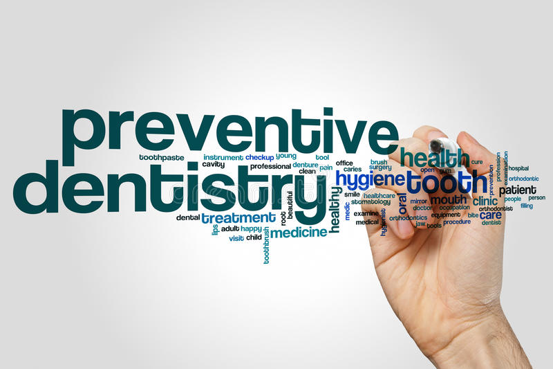 Vorbeugende Zahnheilkundewortwolke lizenzfreies stockbild