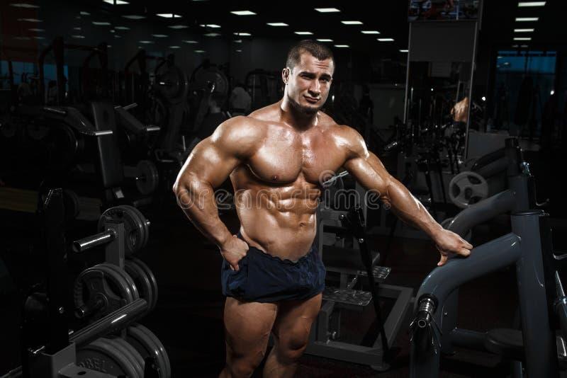 Vorbildliche Aufstellung der muskulösen athletischen Bodybuildereignung nach exercis lizenzfreies stockfoto
