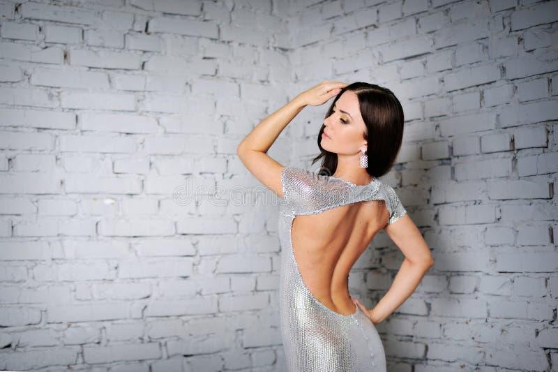 Vorbildliche Aufstellung der schönen Luxusfrau lizenzfreies stockbild