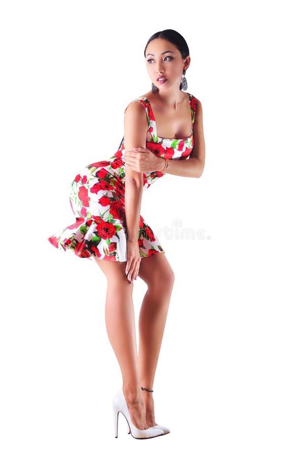 Vorbildliche Aufstellung im bunten Kleid lizenzfreies stockfoto