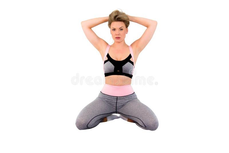 Vorbildliche Frau der Eignung gerichtet auf Sportziele Sport-Kleidungsaufstellung der Sch?nheit tragende _Image stockfotos