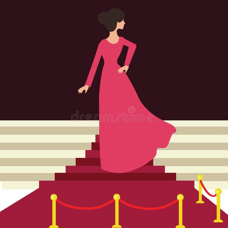 Vorbildliche Promi auf Frauenfrau des roten Teppichs von hinten schönen Eingang vektor abbildung