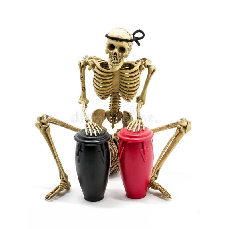 Vorbildliche skeleton spielende Congatrommel stockfotos