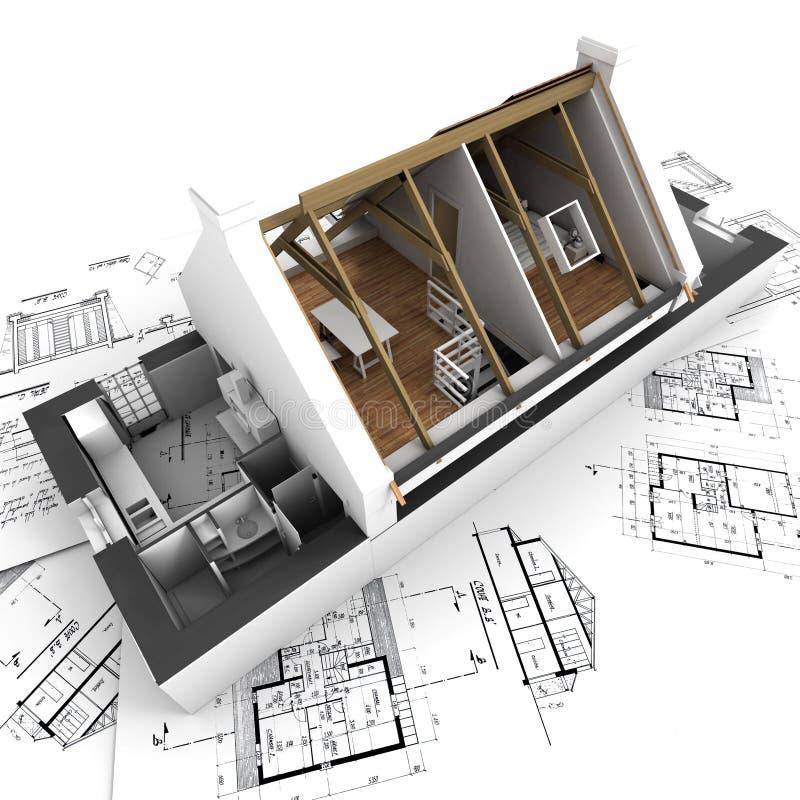 Vorbildlicher darstellender Hausinnenraum der Architektur stock abbildung
