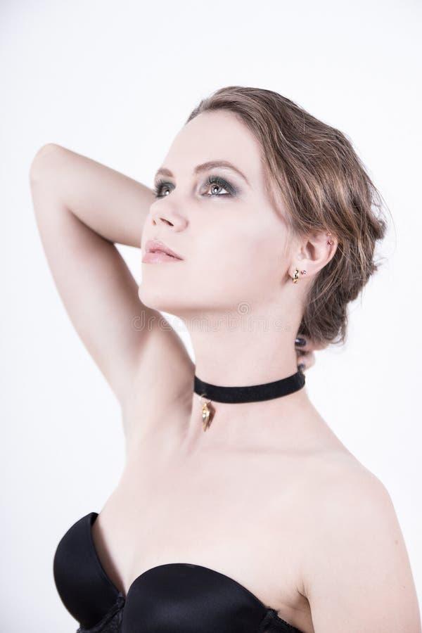 Vorbildliches Foto der Kosmetik mit klarem Gesicht stockbilder