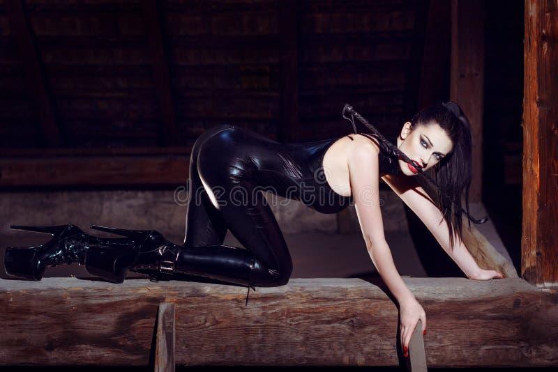 Vorbildliches Knien des schönen Fetisches in der Katzenhaltung stockfotos