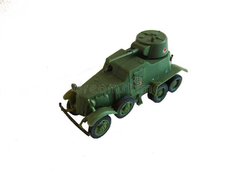 Vorbildliches Militärauto auf einem weißen Hintergrund stockfoto