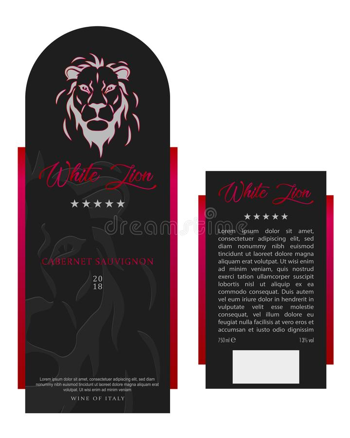 Vorder- und Rückseite von der modernen Wein-Aufkleber-Schablone vektor abbildung