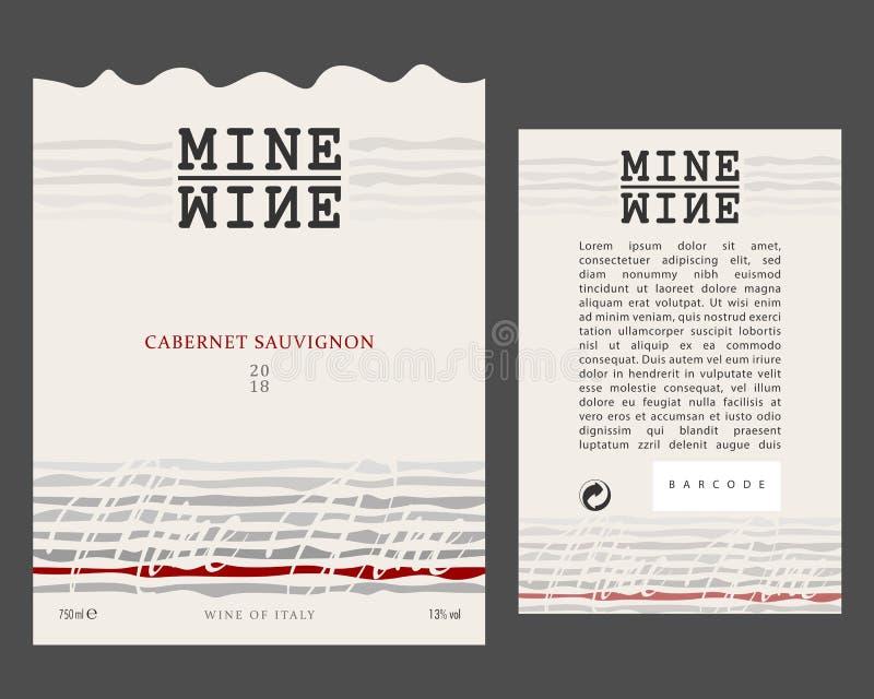 Vorder- und Rückseite von der modernen Wein-Aufkleber-Schablone lizenzfreie abbildung