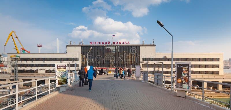Vorderansicht über Wladiwostok-Marinestation stockfotos