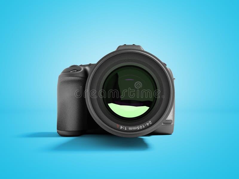 Vorderansicht 3d der neuen Berufskamera des lauten Summens auf blauem Hintergrund mit Schatten übertragen lizenzfreie abbildung
