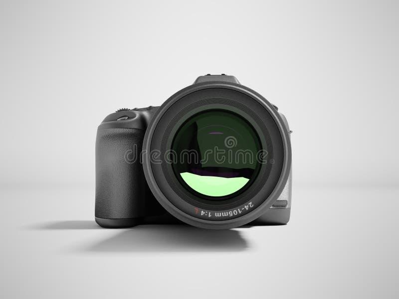 Vorderansicht 3d der neuen Berufskamera des lauten Summens auf grauem Hintergrund mit Schatten übertragen lizenzfreie abbildung