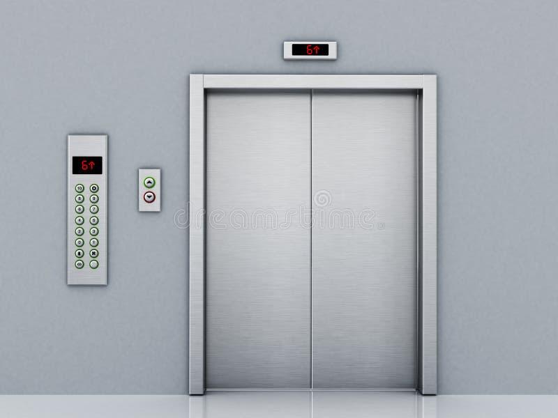 Vorderansicht der Aufzugstür und -Bedienfelds auf dem Korridor Abbildung 3D stock abbildung