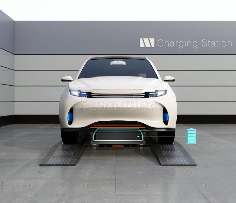 Vorderansicht der elektrischen SUV-Autoaustauschschwacher batterie in der Batterie, die Station austauscht lizenzfreie abbildung