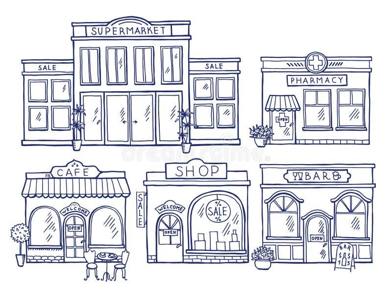 Vorderansicht der Gebäudefassade Shop, Café, Mall und Apotheke Gekritzelillustrationen eingestellt vektor abbildung