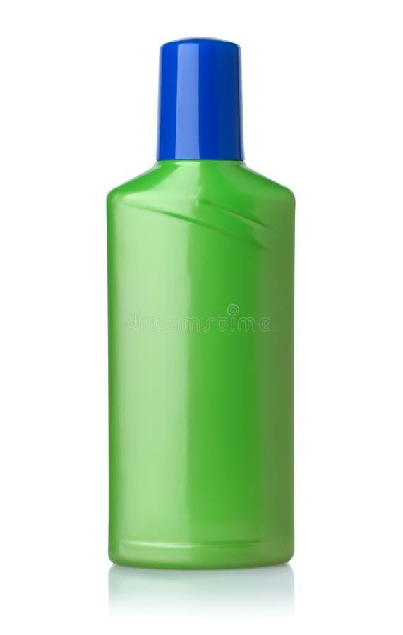 Vorderansicht der grünen Plastikflasche lizenzfreie stockfotos