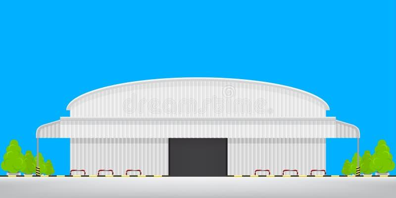 Vorderansicht der Lagerfabrik draußen lokalisiert auf blauem, logistischem Lagerhaus des leeren Bodens der Fabrik, Lagerfabrikgeb lizenzfreie stockbilder