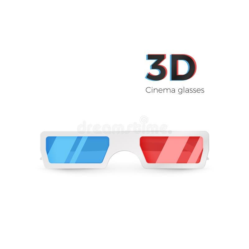 Vorderansicht der realistischen wei?en Gl?ser 3d Papierkinogl?ser mit rotem und blauem Glas Vektorillustration lokalisiert auf We lizenzfreie abbildung