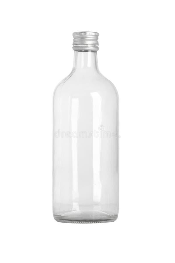 Vorderansicht der transparenten Glasflasche stockbild