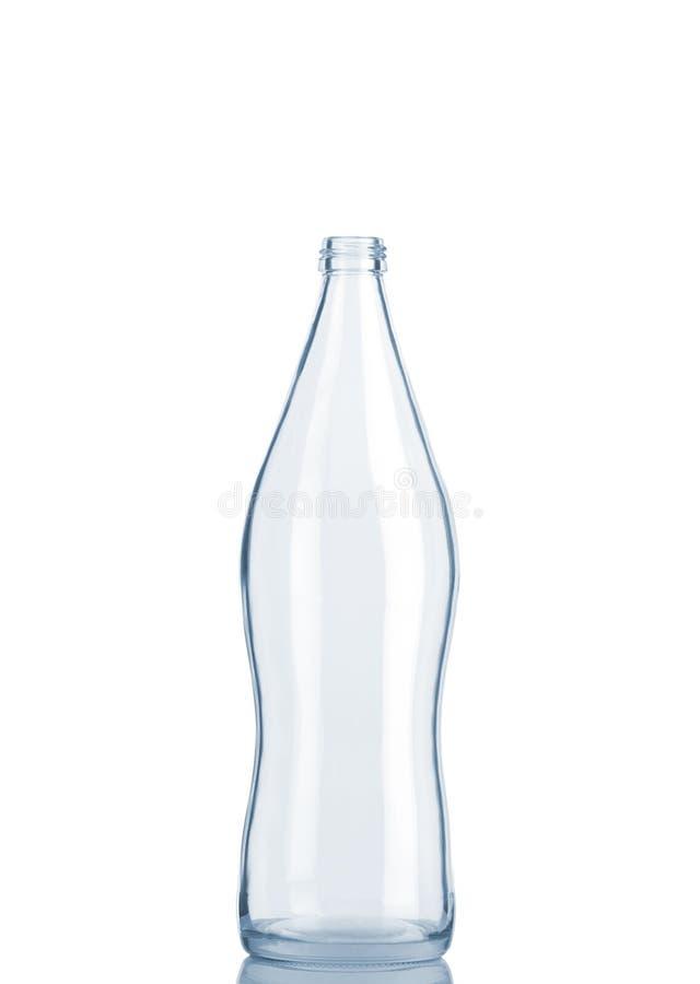 Vorderansicht der transparenten Glasflasche stockfoto