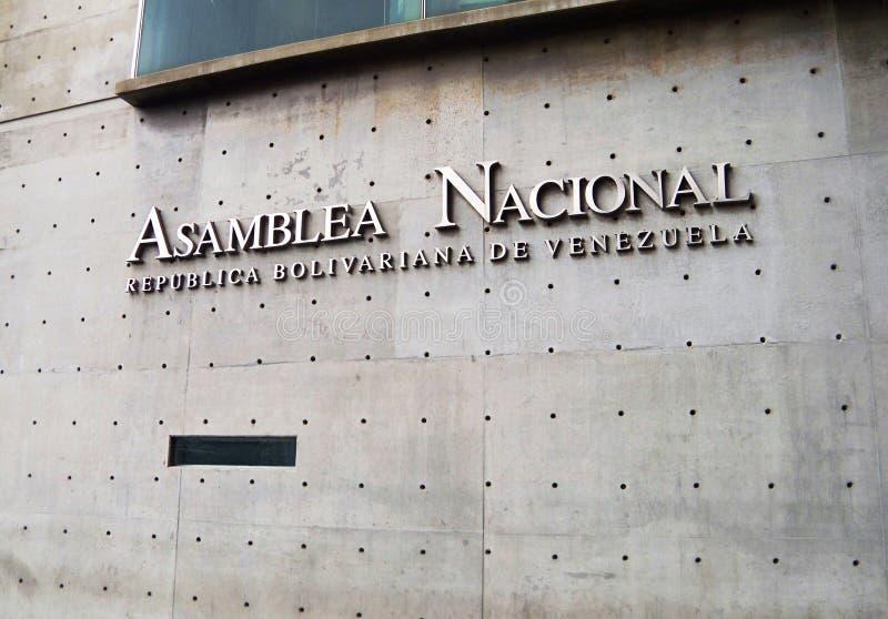 Vorderansicht der venezolanischen Nationalversammlung in Caracas stockbild