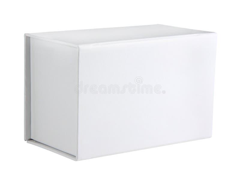 Vorderansicht der weißen Pappschachtel stockbild