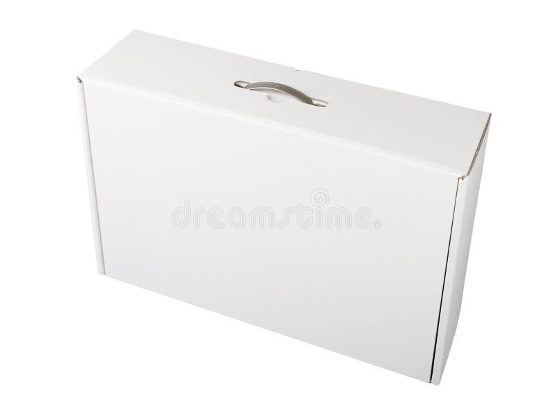 Vorderansicht der weißen Pappschachtel lizenzfreie stockbilder