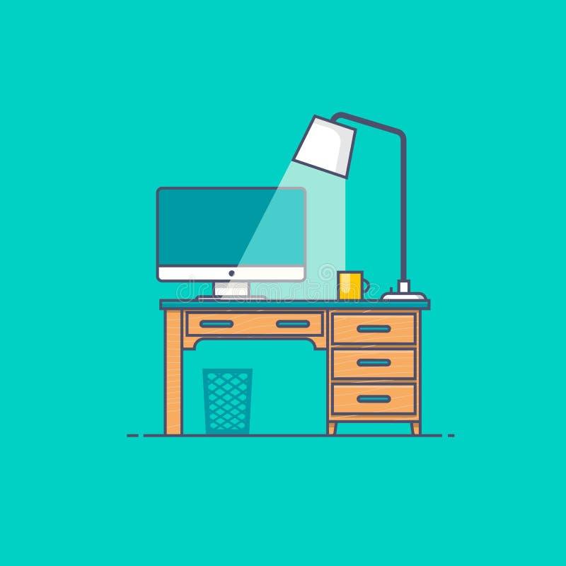 Vorderansicht des Arbeitsplatzes des Designerschreibtisches mit weißem Computer lizenzfreie abbildung