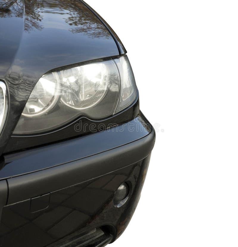 Vorderansicht des Autolichtes auf Weiß lizenzfreie stockfotografie