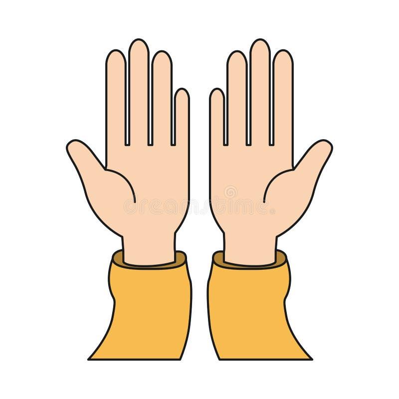 Vorderansicht des bunten Schattenbildes öffnete Hände mit Ärmelt-shirt lizenzfreie abbildung
