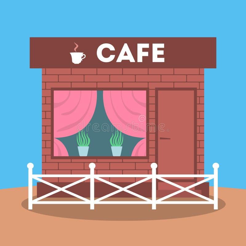 Vorderansicht des Cafégebäudes Fassade der Cafeteria lizenzfreie abbildung
