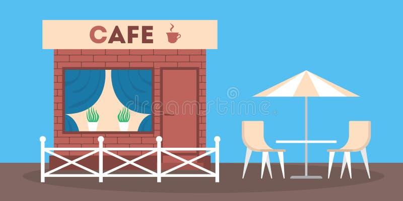 Vorderansicht des Caf?geb?udes Fassade der Cafeteria vektor abbildung
