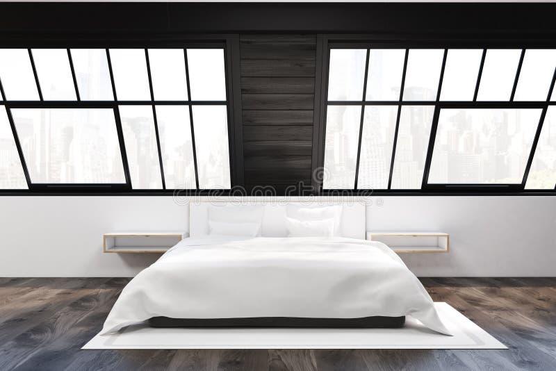 Vorderansicht des Dachbodenschlafzimmers mit zwei Fenstern stock abbildung