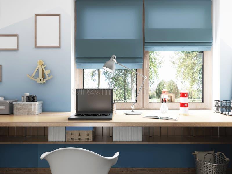 Vorderansicht des Desktops zum Laptop und des See-décor mit stock abbildung